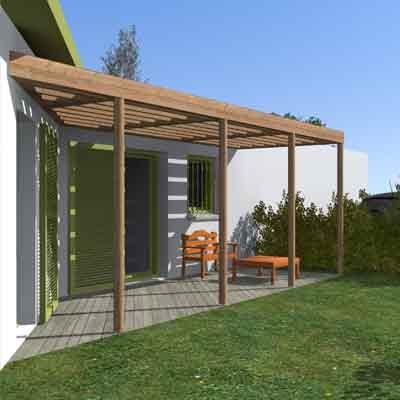 vue 3d extérieur maison et terrasse